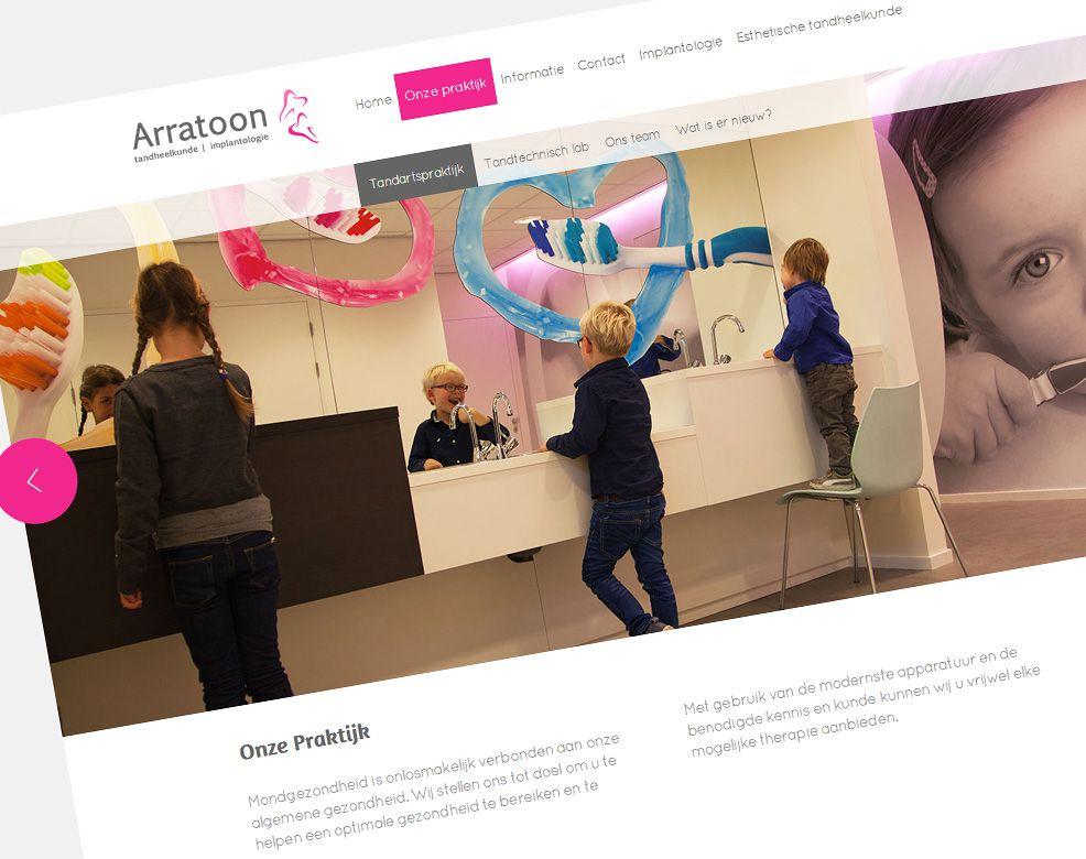 Gebruik van grote visuals op de nieuwe website van Tandartspraktijk Arratoon