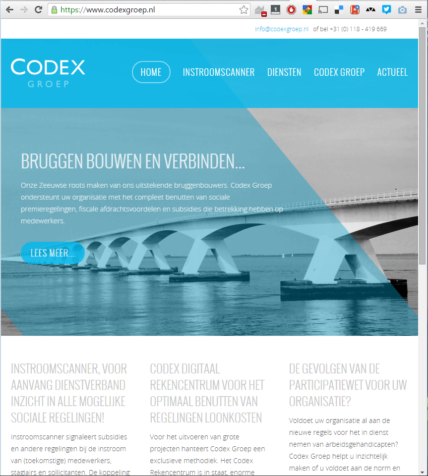 De corporate website van de Codex Groep is vanzelfsprekend responsive opgezet