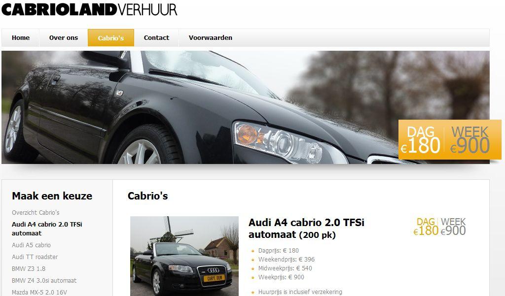 Startscherm van website www.cabriolandverhuur.nl voor Cabrioland