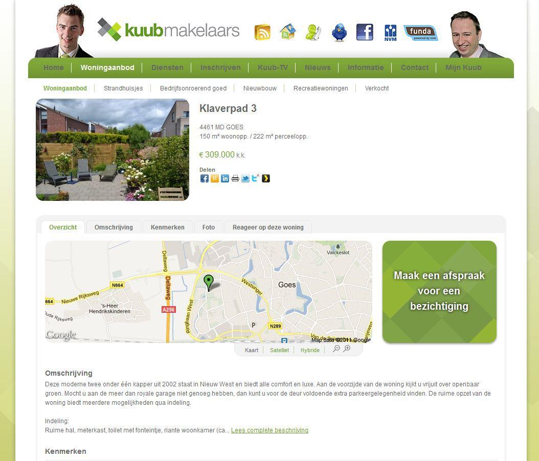 Het woningaanbod wordt op een mooie manier getoond op de website van Kuub Makelaars uit Goes