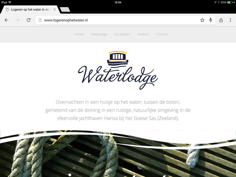 iPad weergave van de website voor Logeren op het Water van Hansa Watersport in het Goese Sas (Zeeland)