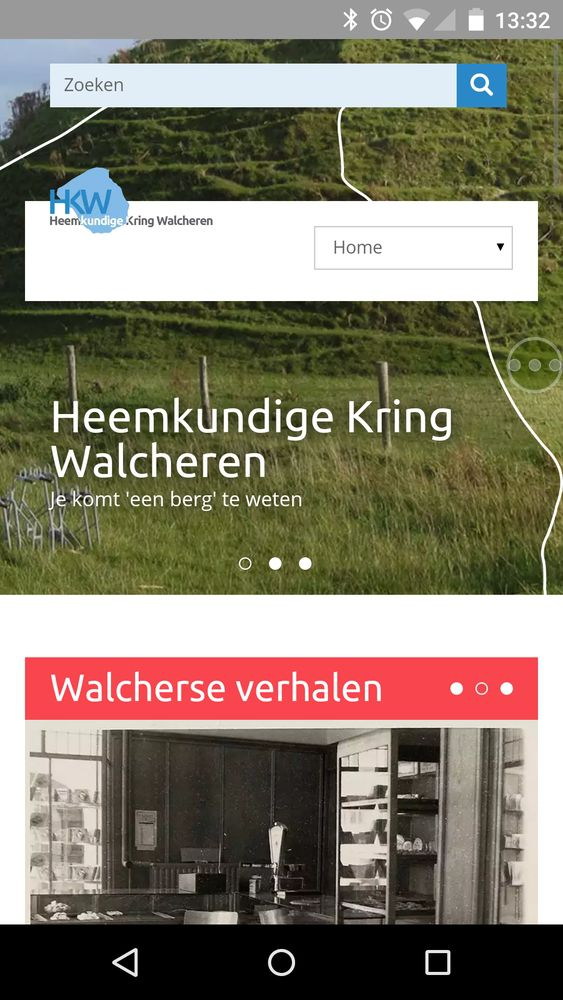Weergave website Heemkundige Kring Walcheren op mobiel