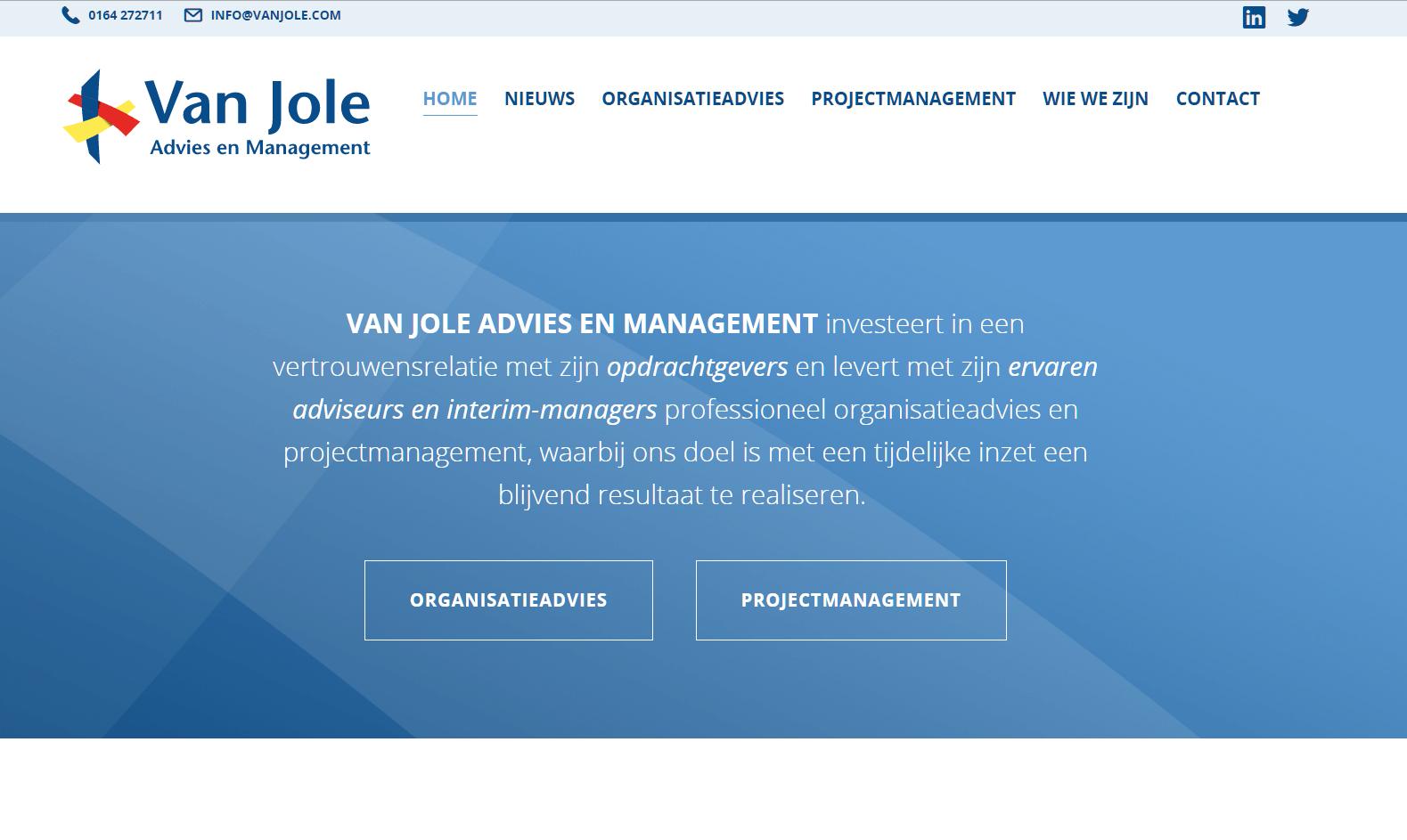 Nieuwe responsive website Van Jole, Advies en Management