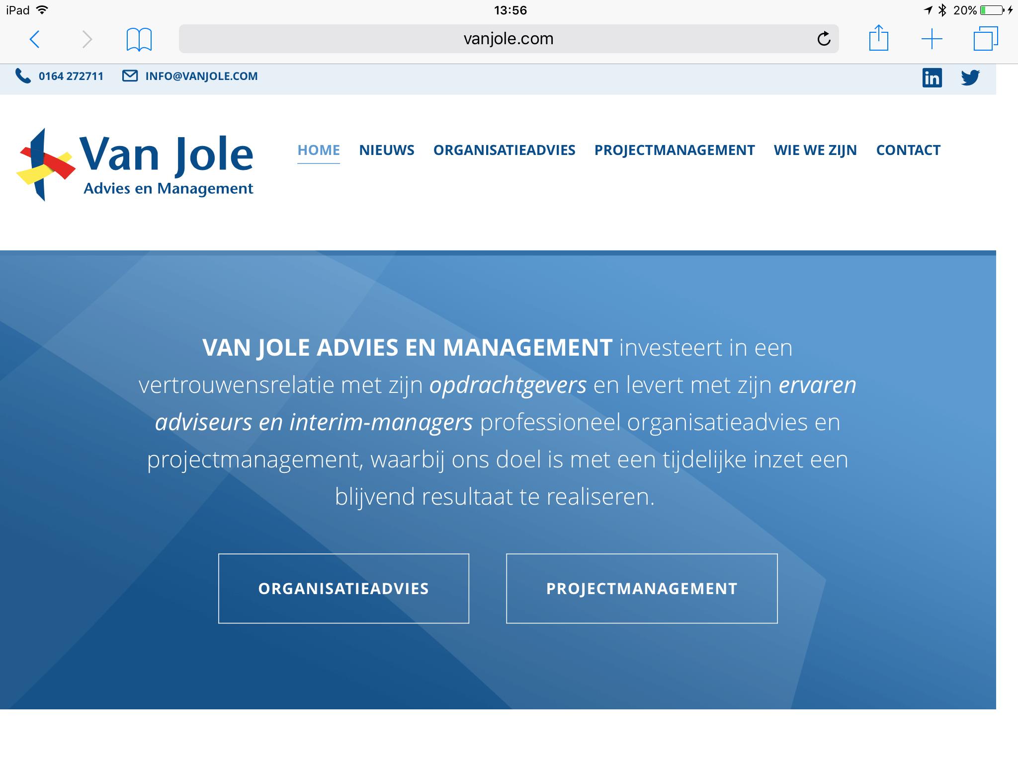 Nieuwe responsive website (tablet) Van Jole, Advies en Management
