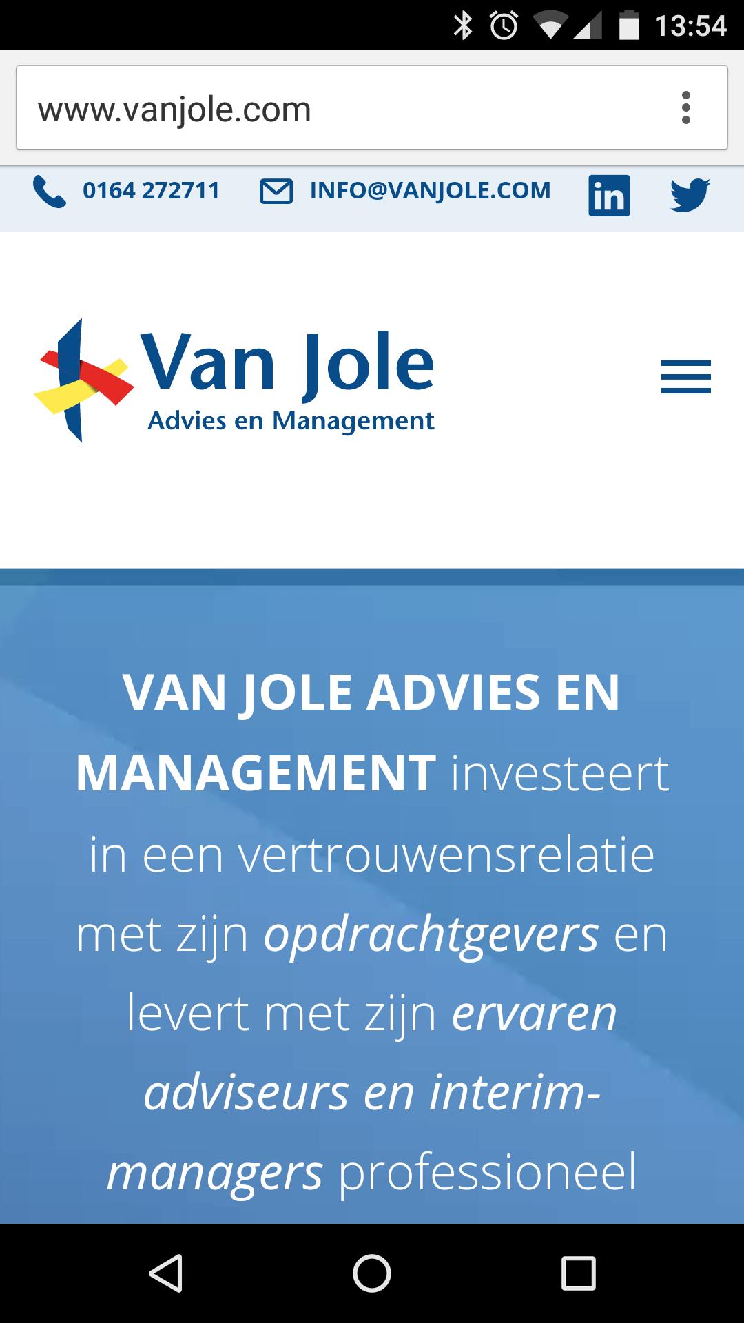 Nieuwe responsive website (mobiele telefoon) Van Jole, Advies en Management