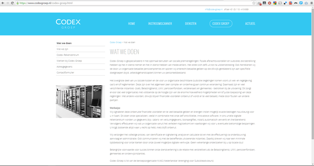 Instroomscanner is een product op de Codex Groep corporate website