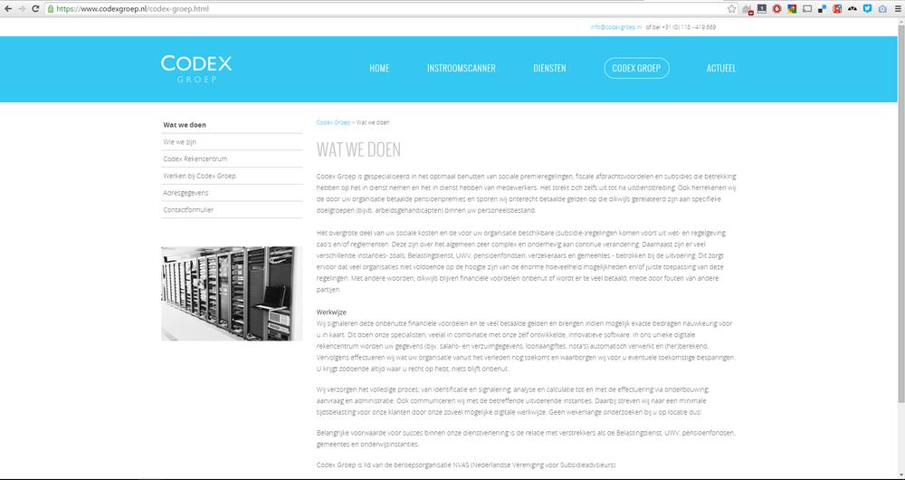 Instroomscanner is een product op de Codex Groep corporate website