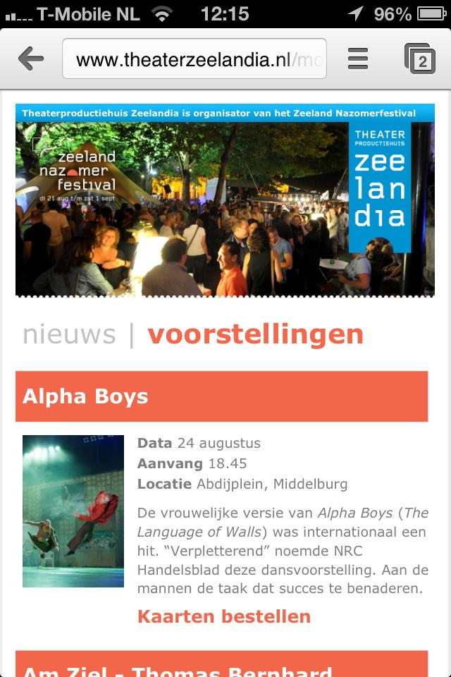 Mobiele website voor Zeeland Nazomerfestival 2012