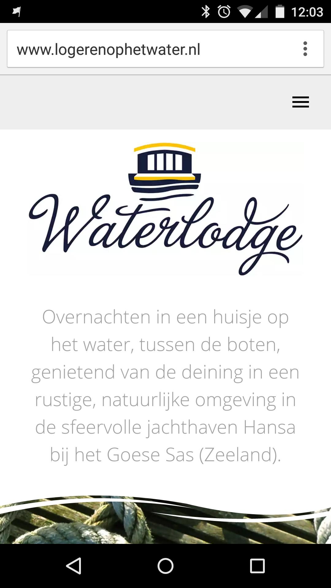 Smartphone weergave van de website voor Logeren op het Water van Hansa Watersport in het Goese Sas (Zeeland)