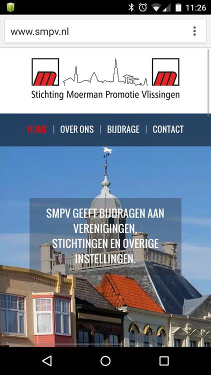 Smartphone weergave responsive website Stichting Moerman Promotie Vlissingen (SMPV)