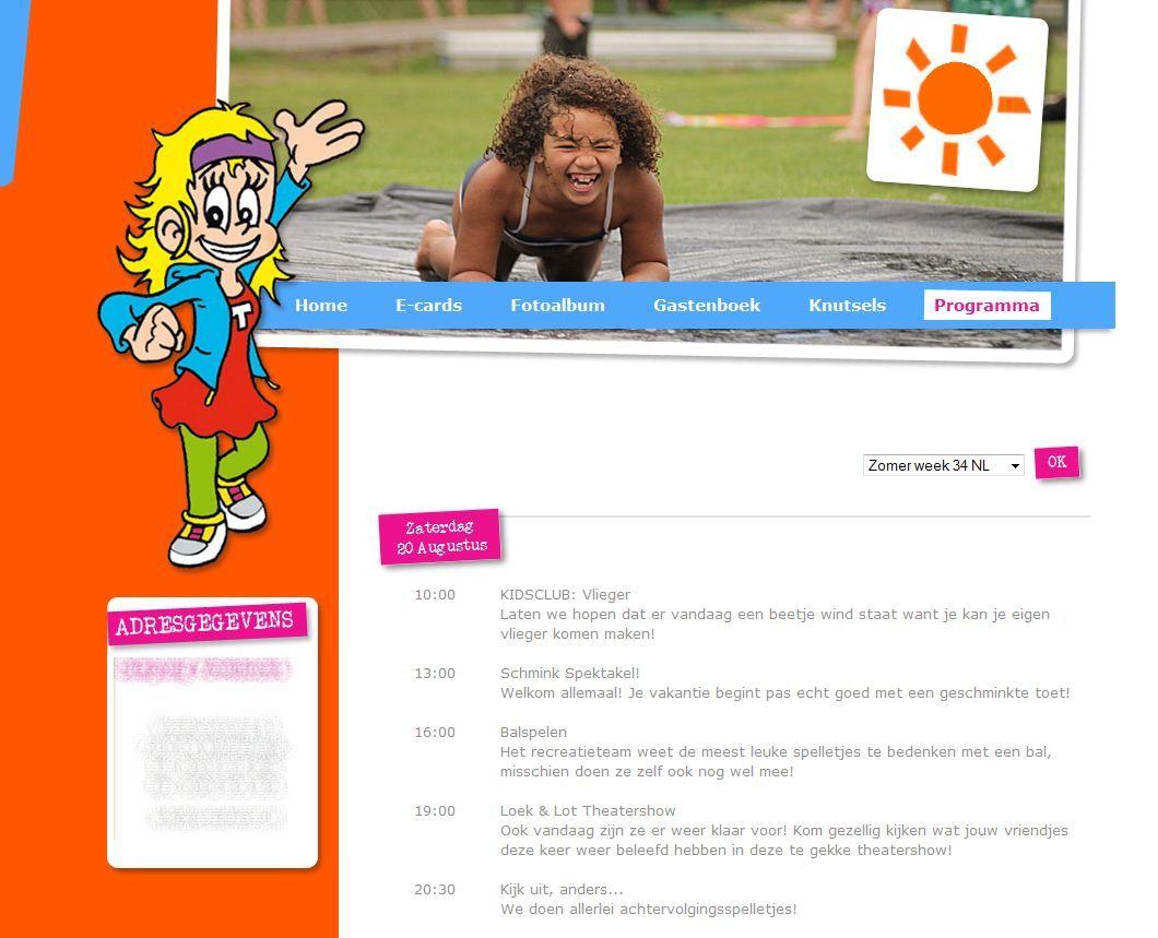 Het TOP-recreatie programma automatisch getoond op deze website