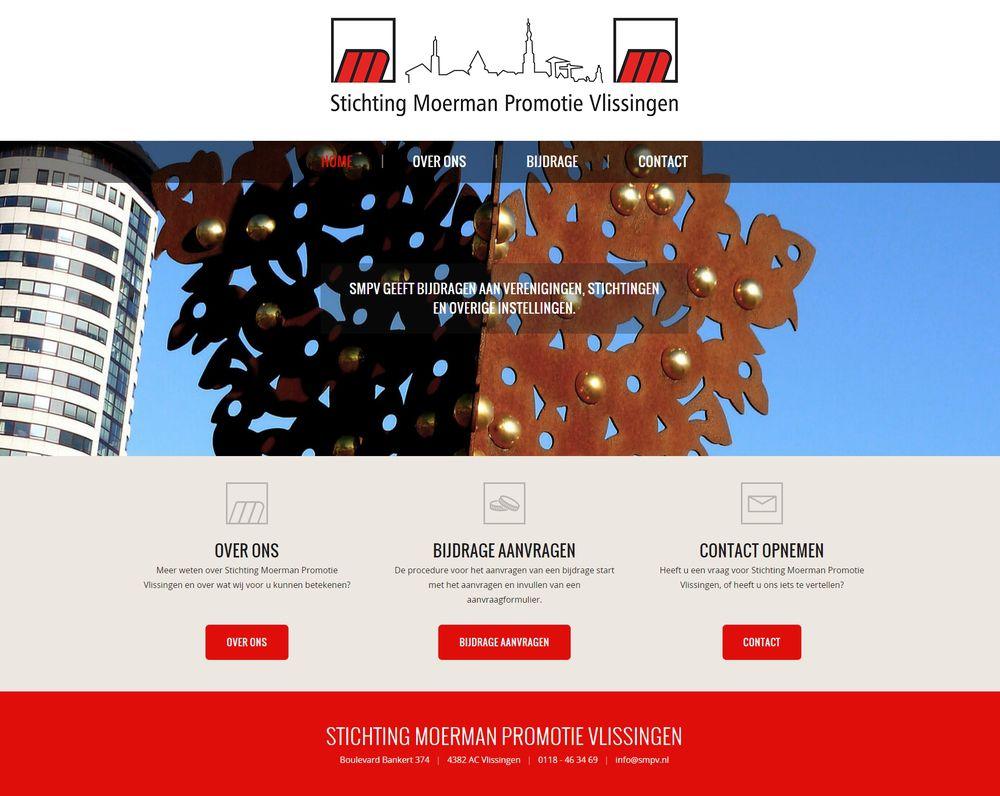 Desktop weergave responsive website Stichting Moerman Promotie Vlissingen (SMPV)