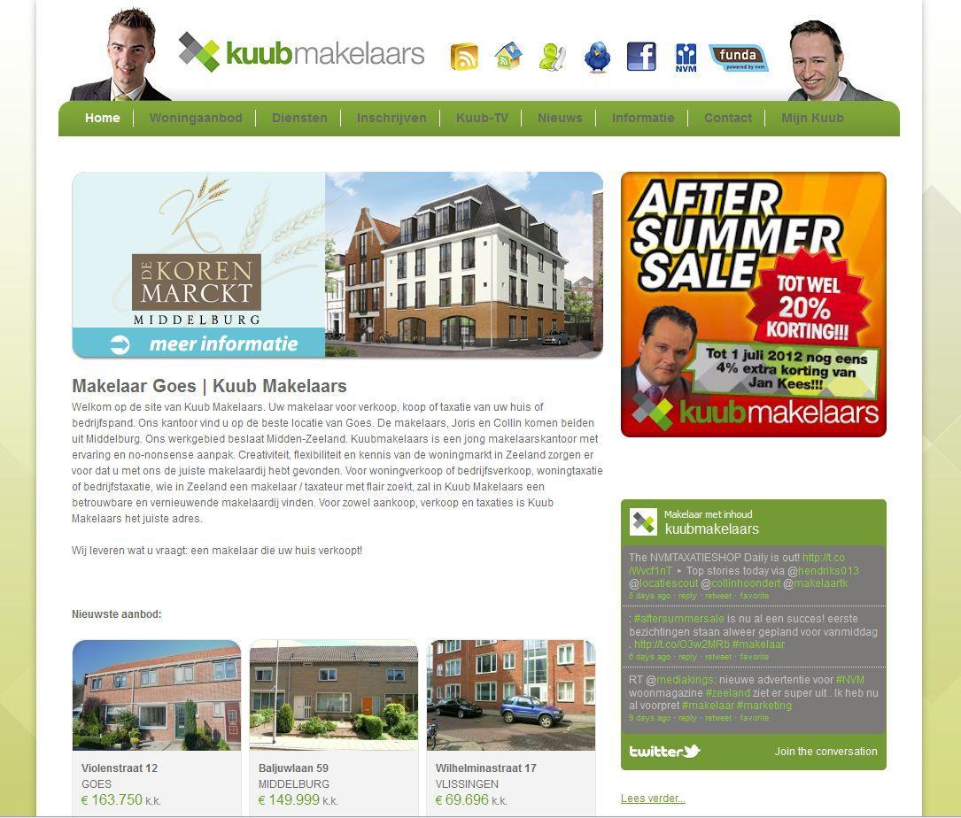 Homepage van de nieuwe website van Kuub Makelaars uit Goes