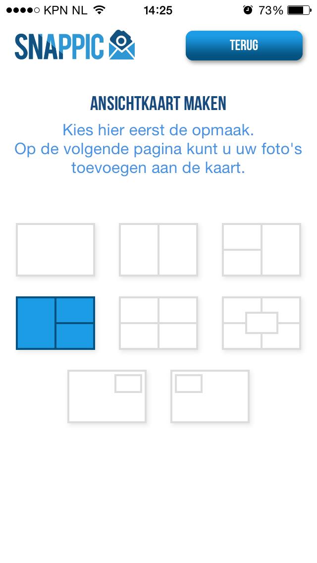 Selecteer een ansichtkaart  layout
