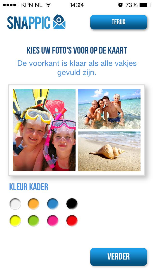 Kies de foto en kleuren voor de ansichtkaart