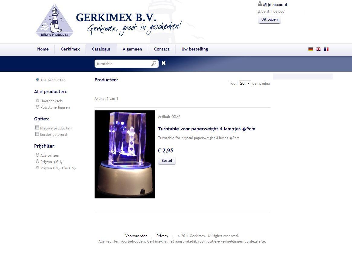 Bestelmodule voor geregistreerde klanten van Gerkimex BV uit Serooskerke