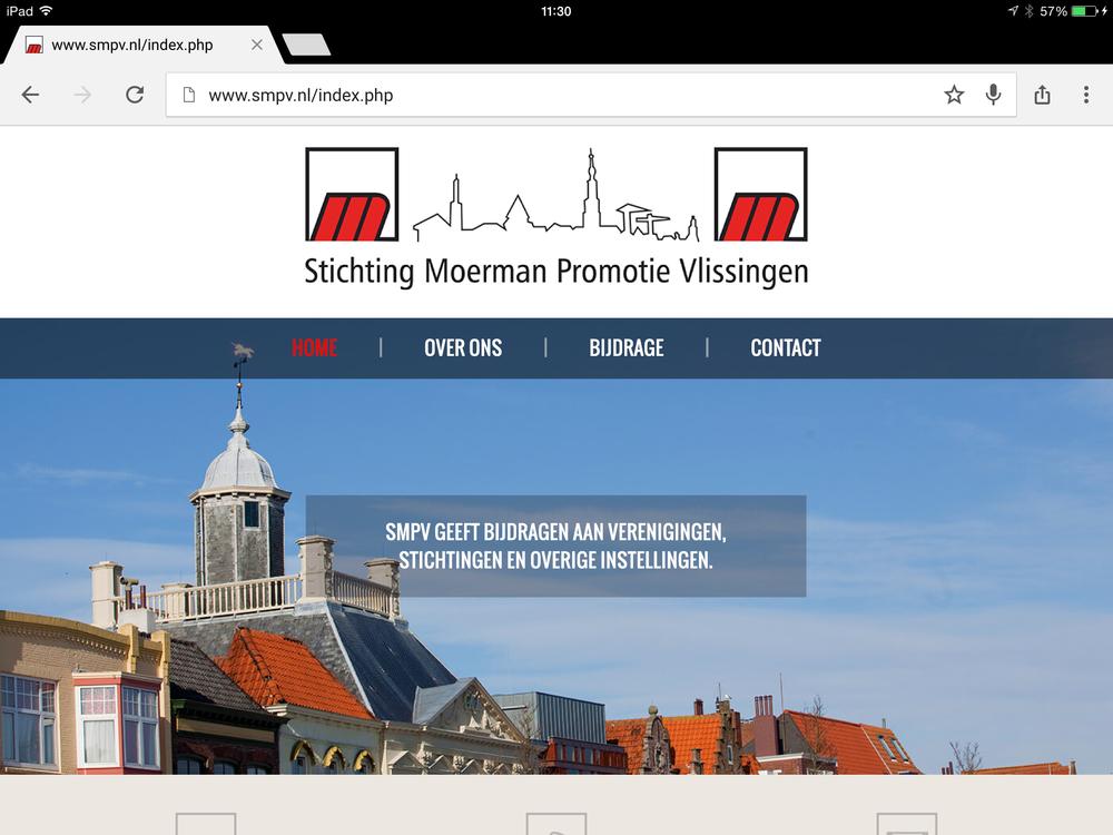 iPad weergave responsive website Stichting Moerman Promotie Vlissingen (SMPV)