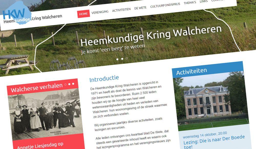 Homepage nieuwe responsive website Heemkundige Kring Walcheren
