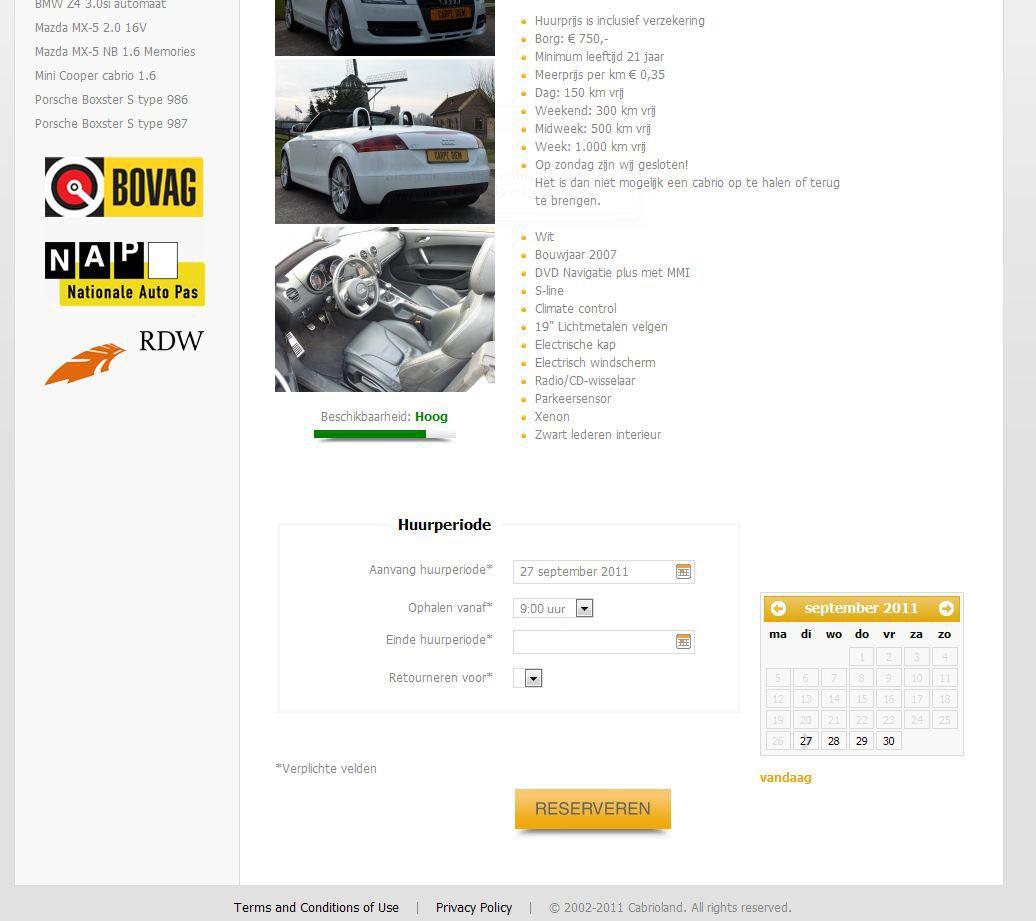 Kies via een kalender de beschikbare dagen op www.cabriolandverhuur.nl