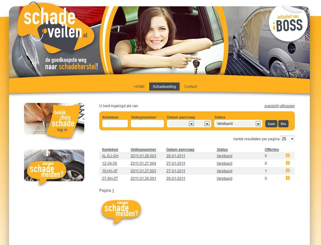 Screendump www.schadeveilen.nl gebouwd voor iBOSS
