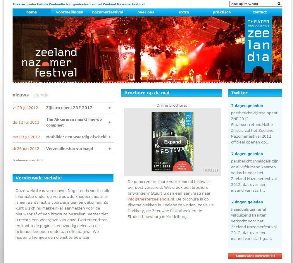 Vernieuwde website voor Zeeland Nazomerfestival 2012