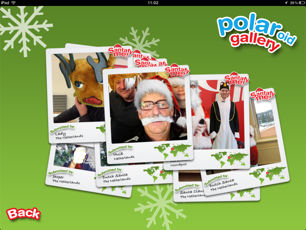 De POLARoid Gallery in de iPad app Santafy Me! - Look like Santa Claus