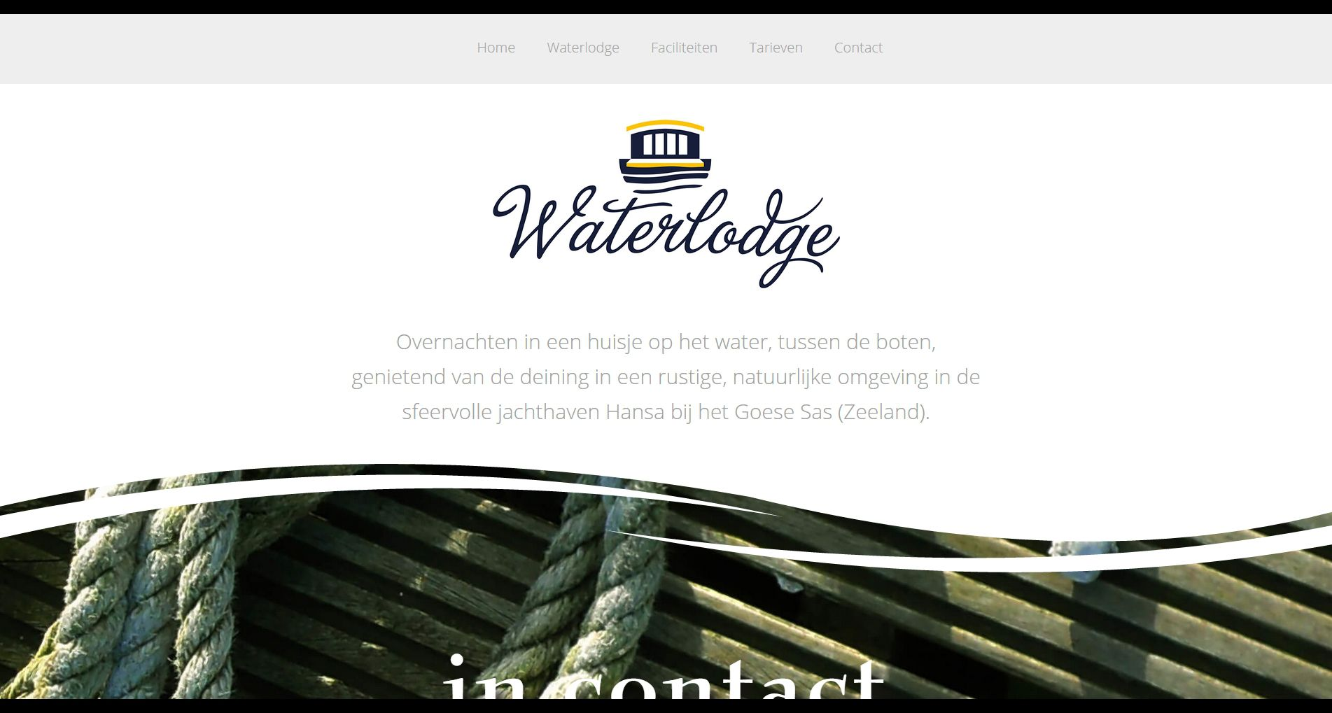 Desktop weergave van de website voor Logeren op het Water van Hansa Watersport in het Goese Sas (Zeeland)