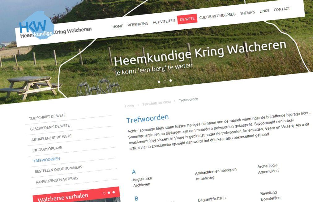 Trefwoorden nieuwe responsive website Heemkundige Kring Walcheren