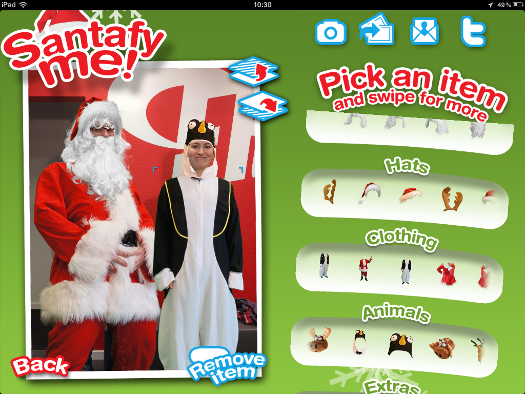 Selecteer Kerstmis items in de iPad app Santafy Me! - Look like Santa Claus