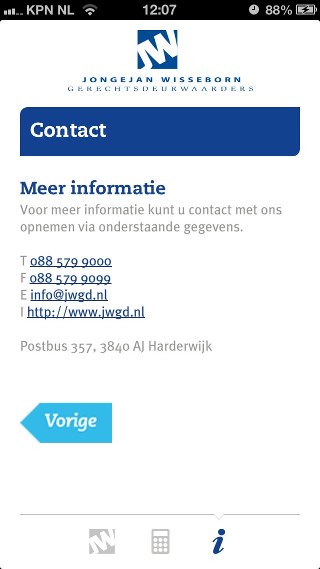 Contactgegevens iPhone App