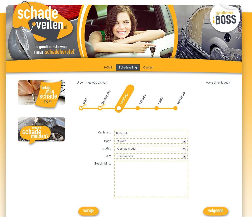 Via een eenvoudige stappenplan wordt alle benodigde informatie opgegeven - www.schadeveilen.nl van iBOSS