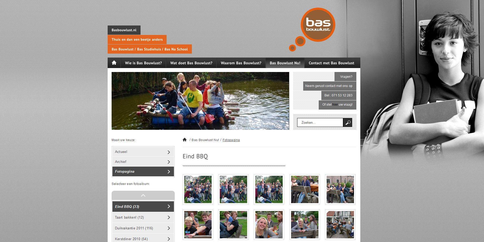Op de fotopagina wordt gebruikt gemaakt van de Flickr pagina van BAS Bouwlust