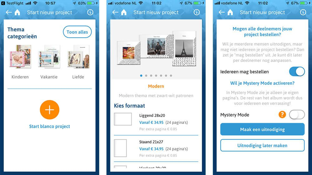 bestelschermen in de iOS en Android app