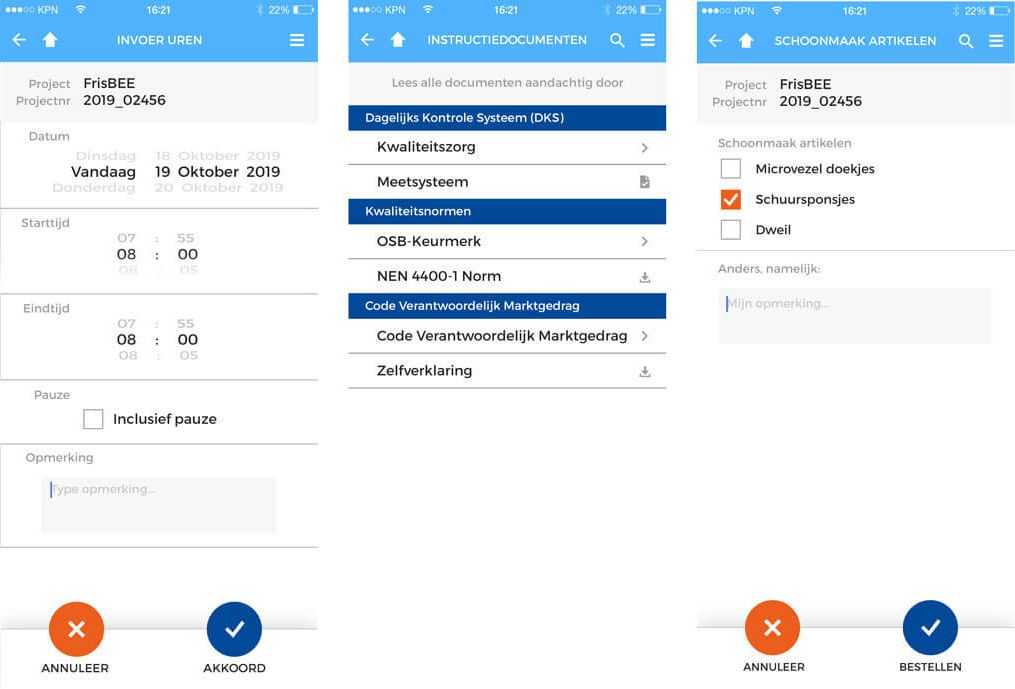 registratie app Jansma & Dik - registratieschermen