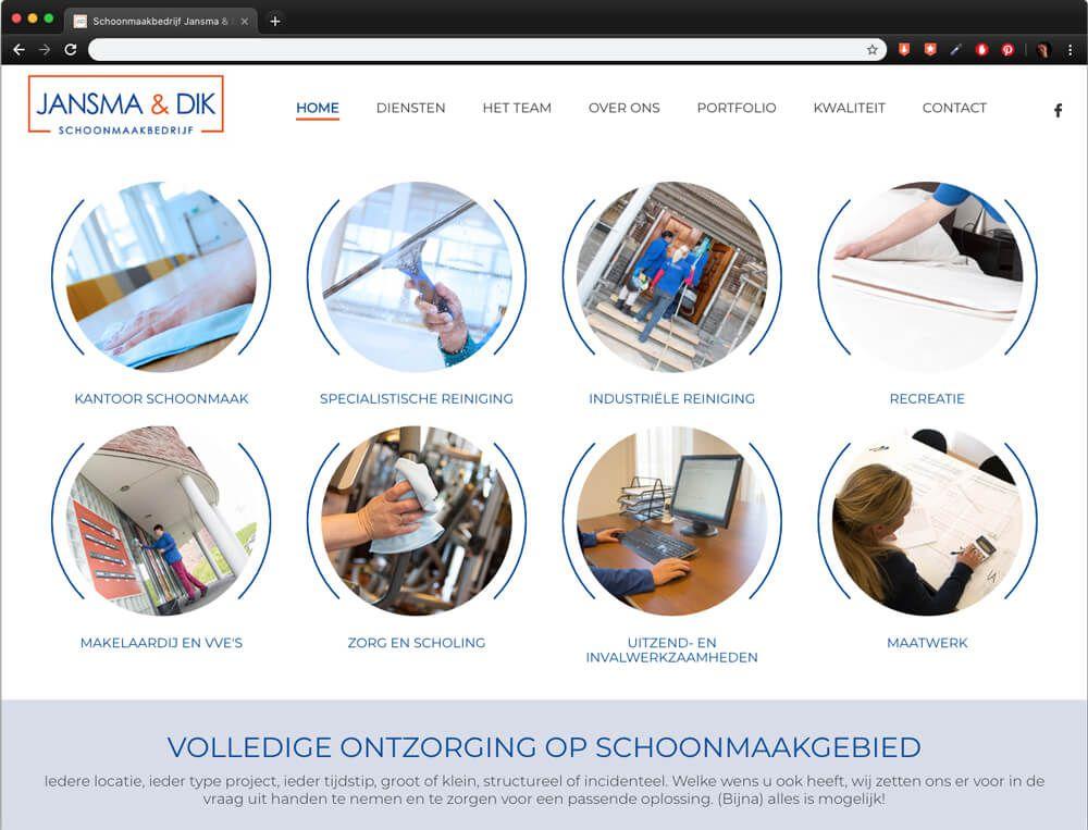 website Jansma & Dik - homepage overzicht met alle diensten
