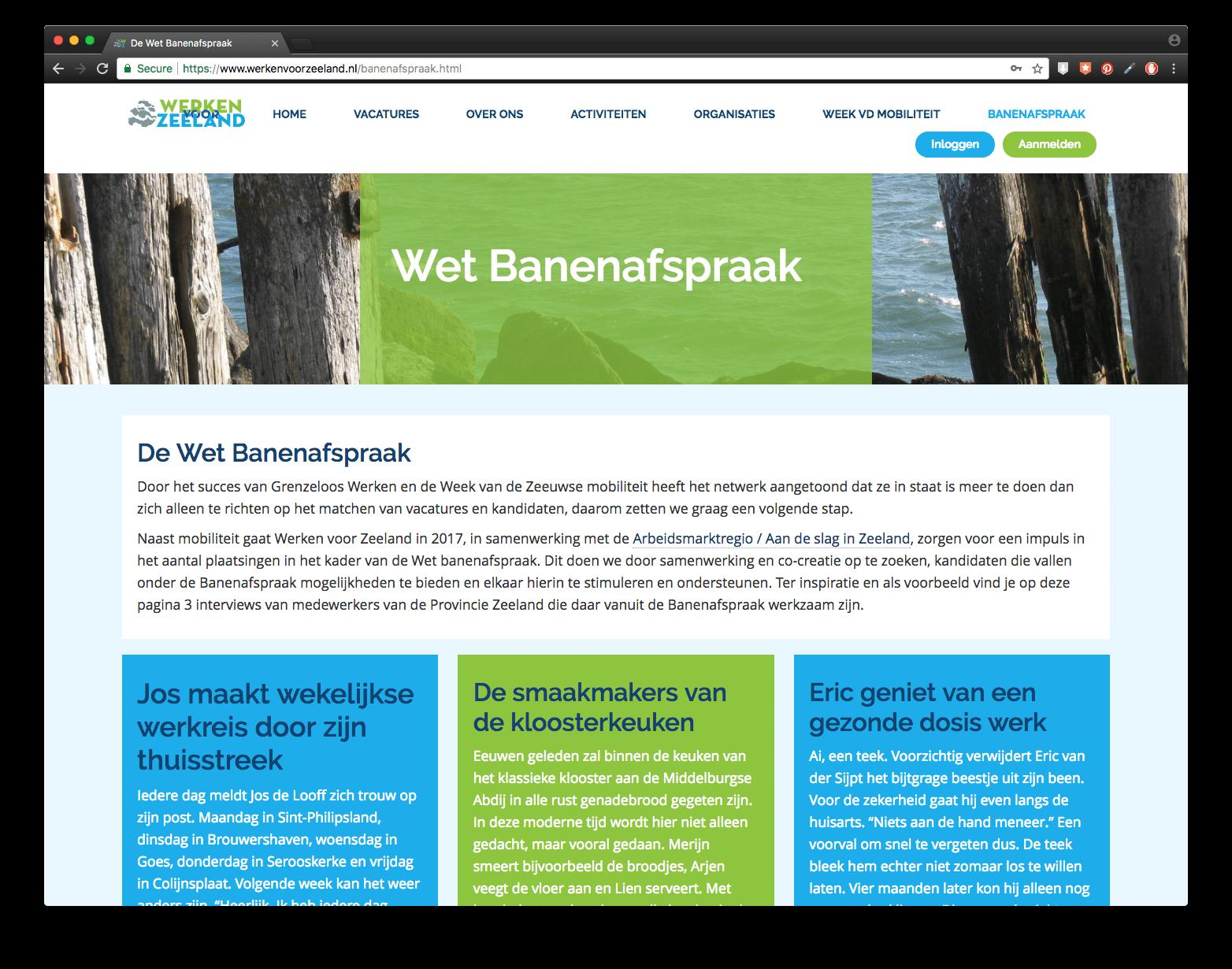 Wet Banenafspraak op de website van Werken voor Zeeland