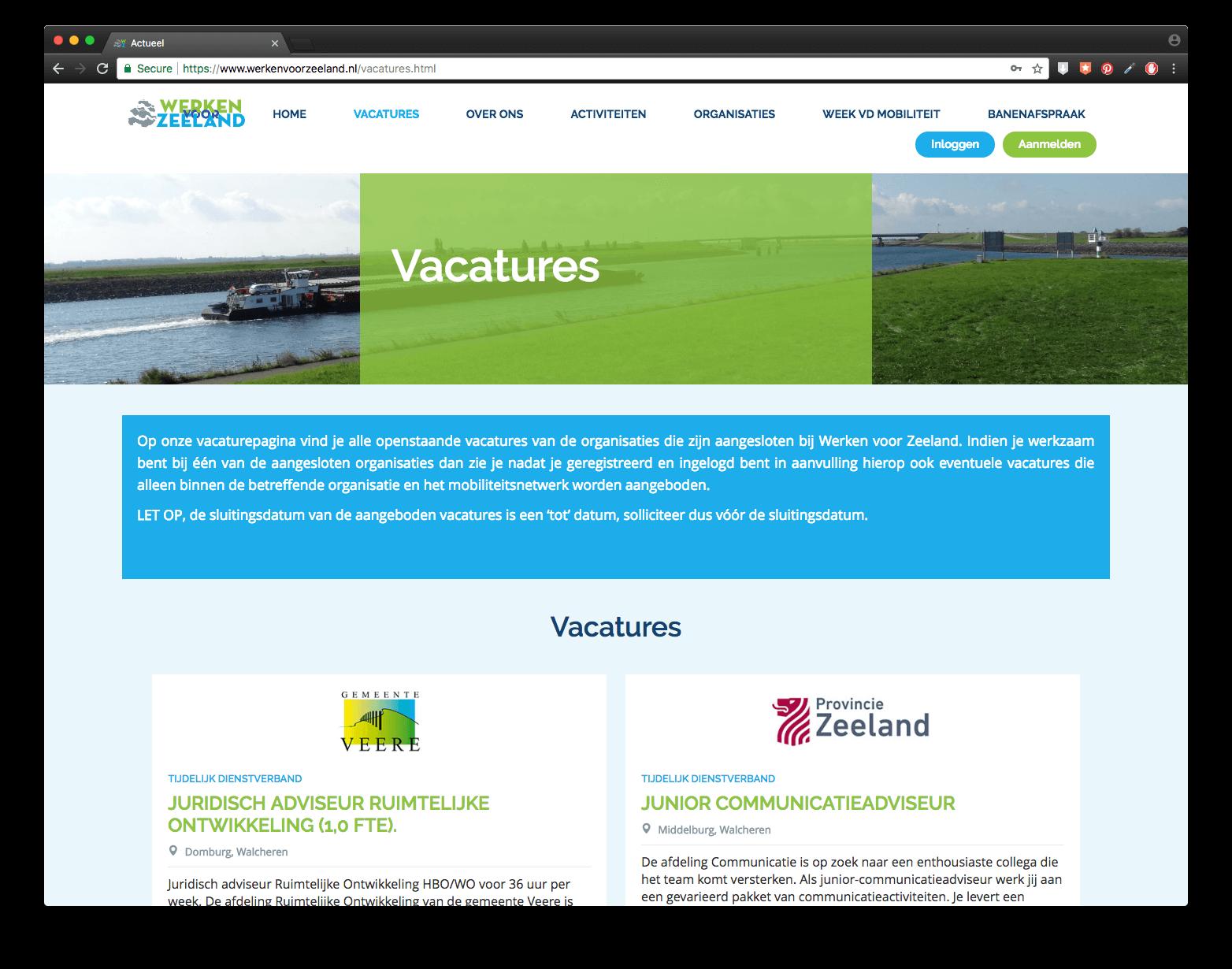 Vacatures op de website van Werken voor Zeeland