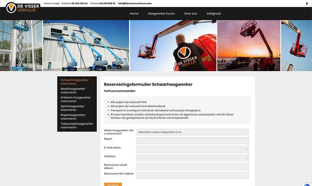 website de Visser Verhuur - reserveren