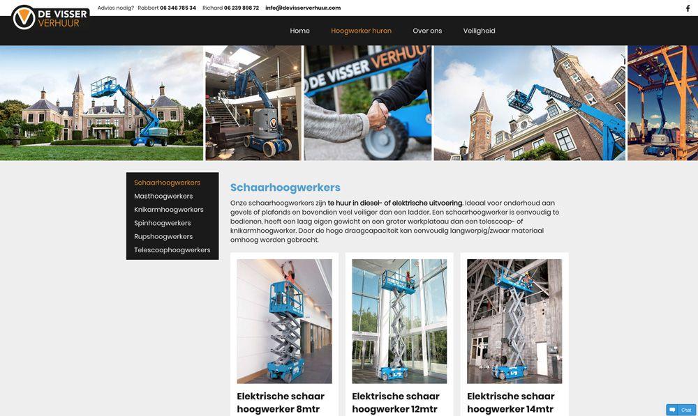 website de Visser Verhuur - producten