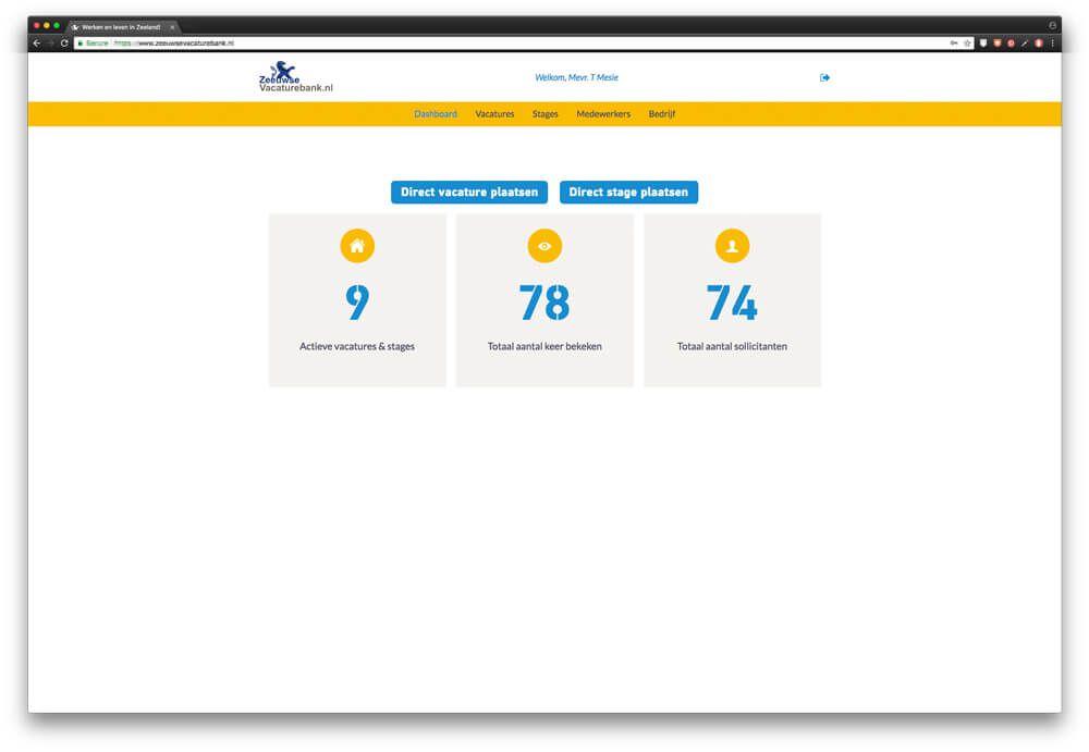 Dashboard werkgevers geeft direct inzicht in performance vacatures op ZeeuwseVacaturebank.nl