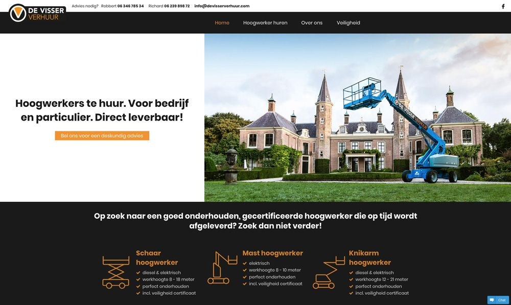 website de Visser Verhuur - home