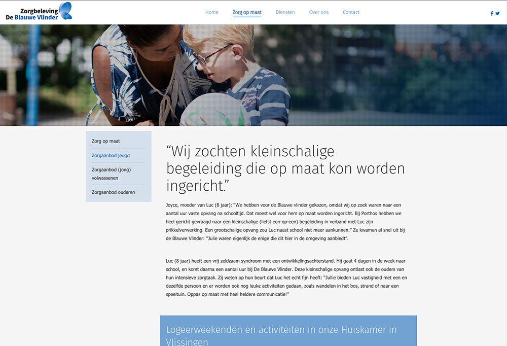 Website De Blauwe Vlinder