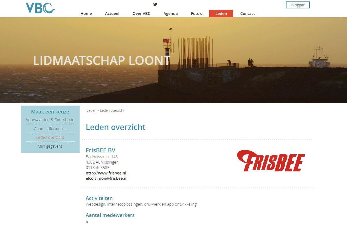 Ledenoverzicht op de nieuwe responsive website van de VBC