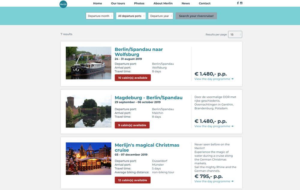 website overzicht met reizen