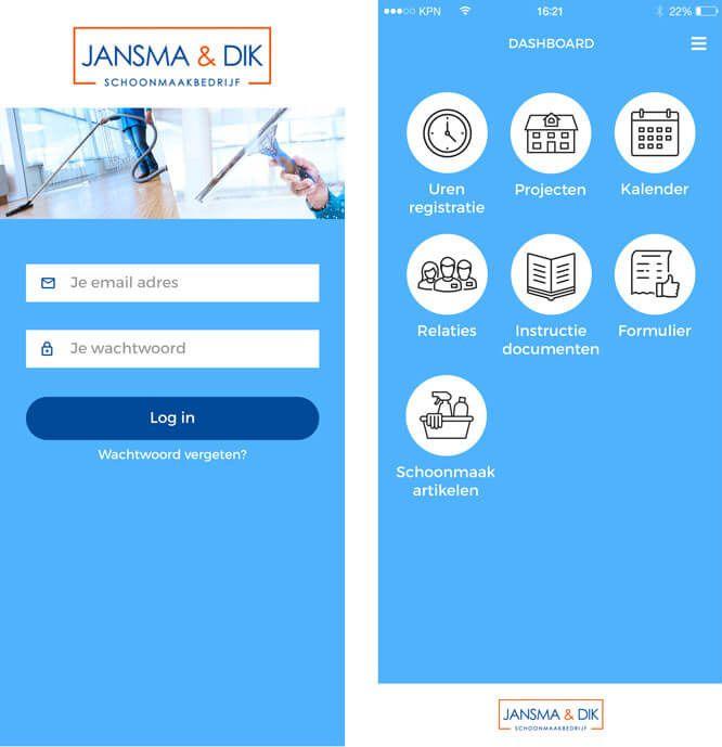 registratie app Jansma & Dik - startschermen