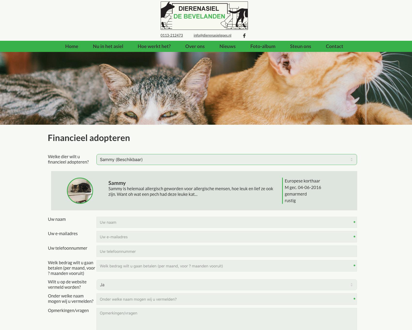 Aanmelden donateurs - website dierenasiel