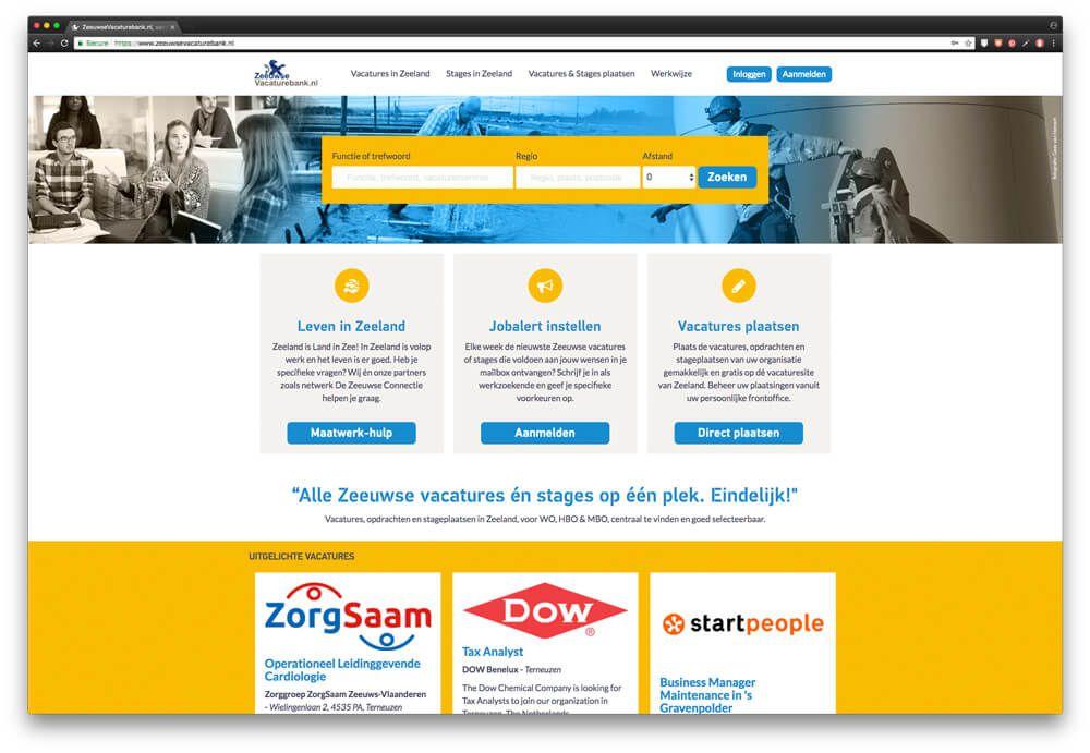 Homepage ZeeuwseVacaturebank.nl